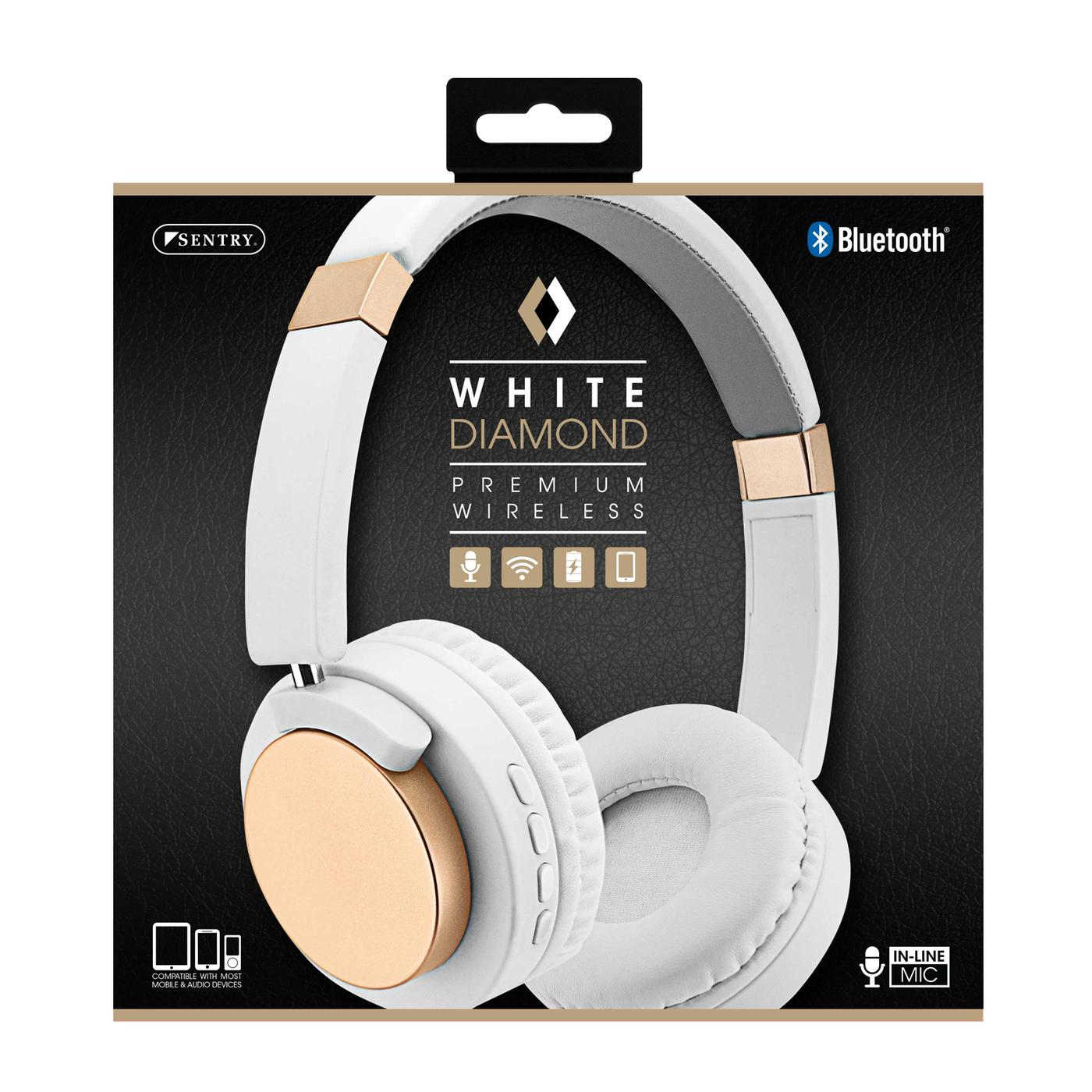 Sentry Industries BT502: White Diamond Premium Wireless Bluetooth Headset