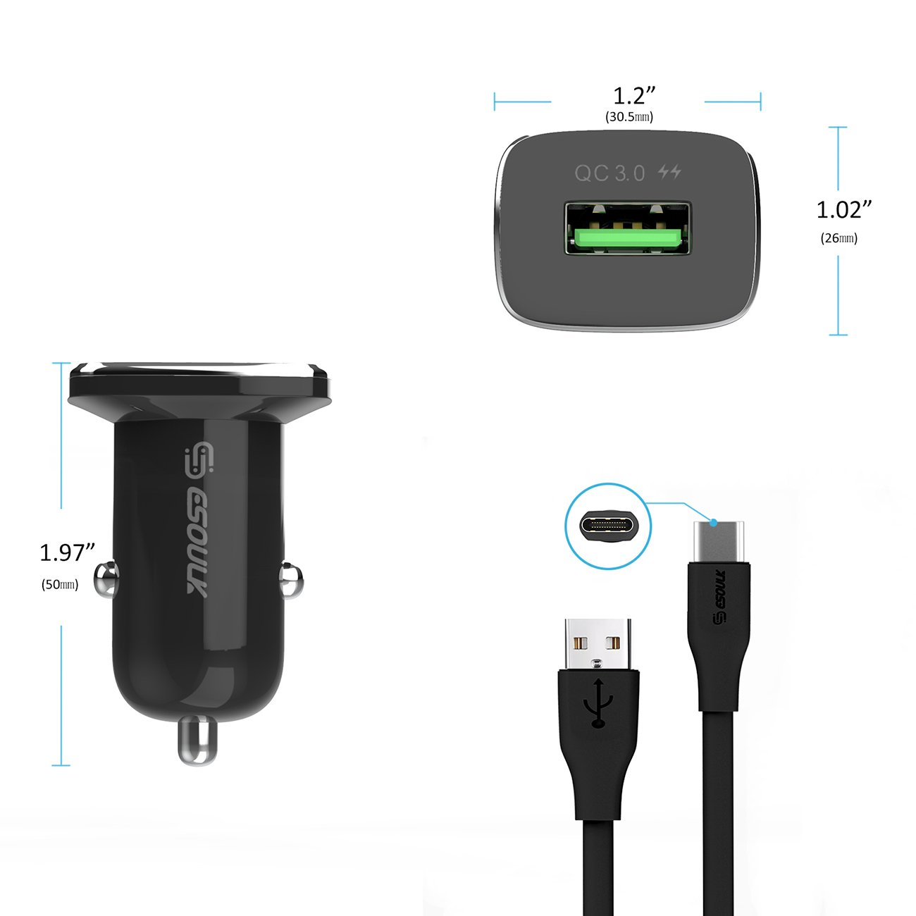 18W QC3.0 Car Charger and 3ft Cable For Type-C In Black