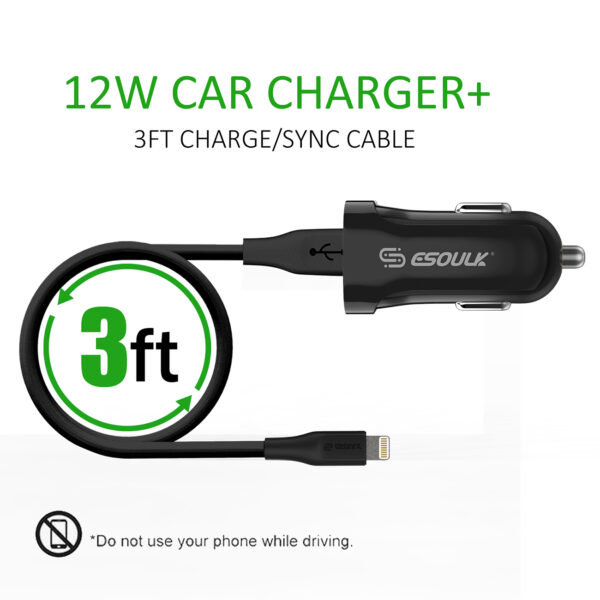 12W 2.4A Car Charger & 3ft Cable For 8 PIN In Black