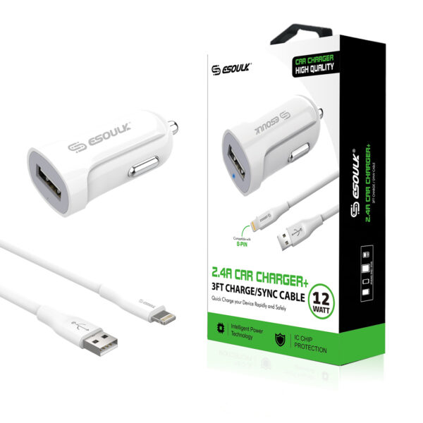 12W 2.4A Car Charger & 3ft Cable For 8 PIN In White