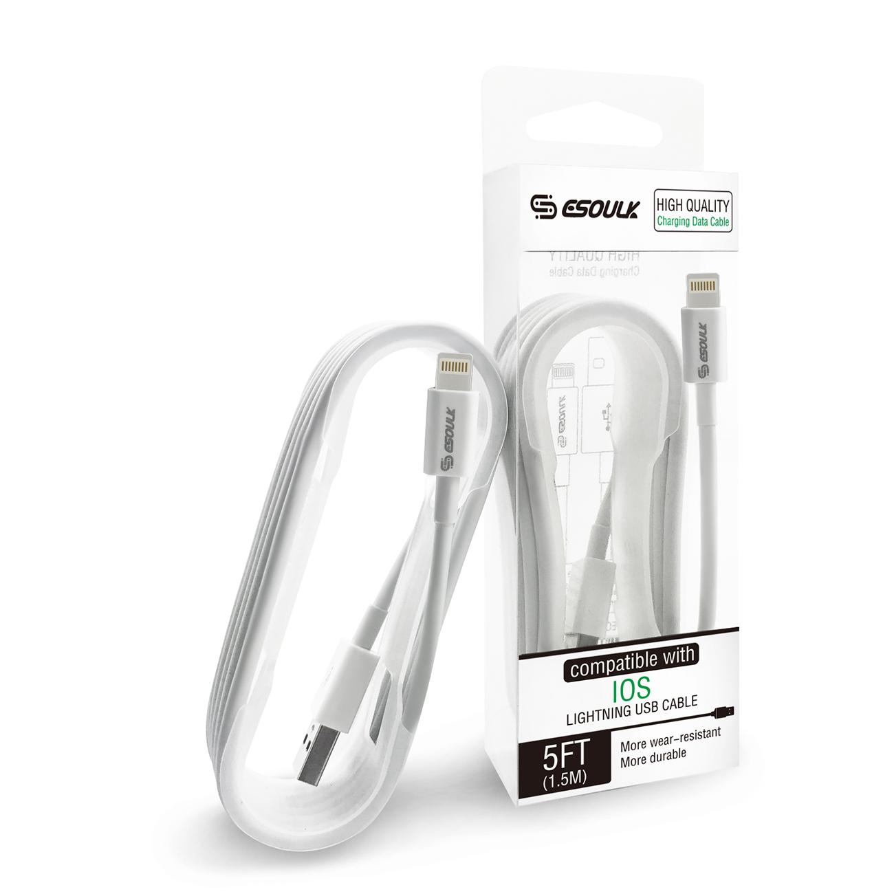 ESOULK 5ft USB DATA CHARGING CABLE For 8 PIN In White