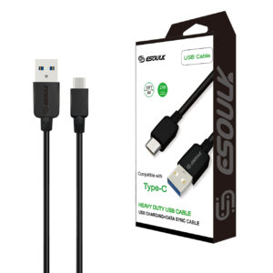 Esoulk 10ft Round Cable For TYPE-C 2A In Black
