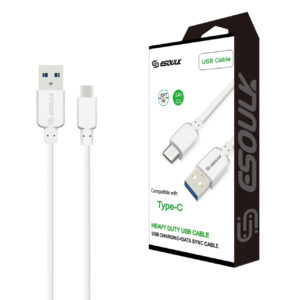 Esoulk 10ft Round Cable For TYPE-C 2A In White
