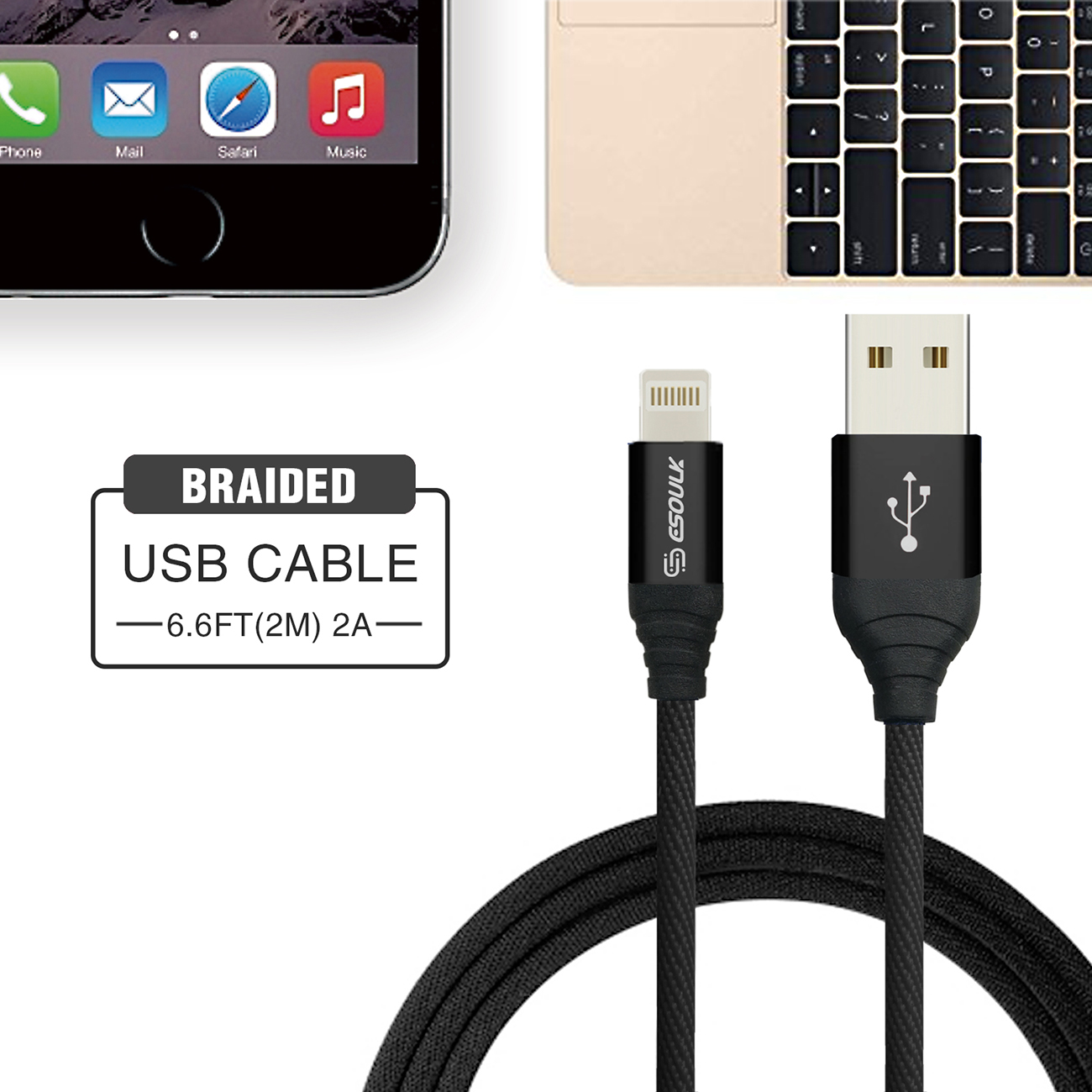 Esoulk Canvas Cable 6.6ft For 8 PIN In Black