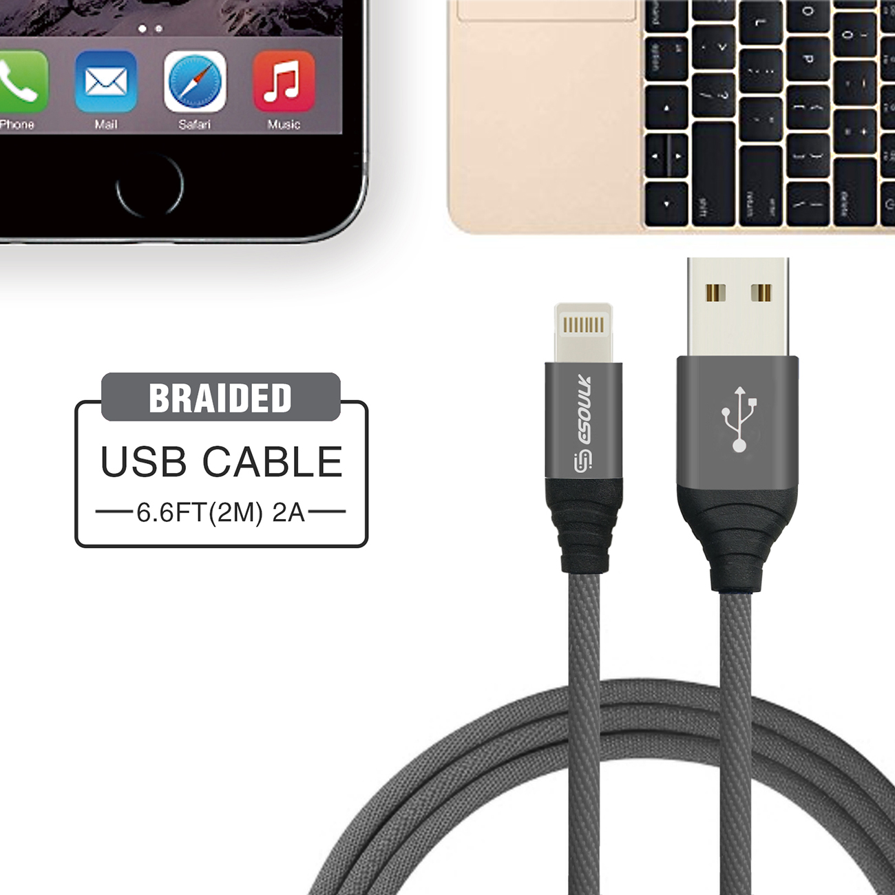 Esoulk Canvas Cable 6.6ft  For 8 PIN In Gray