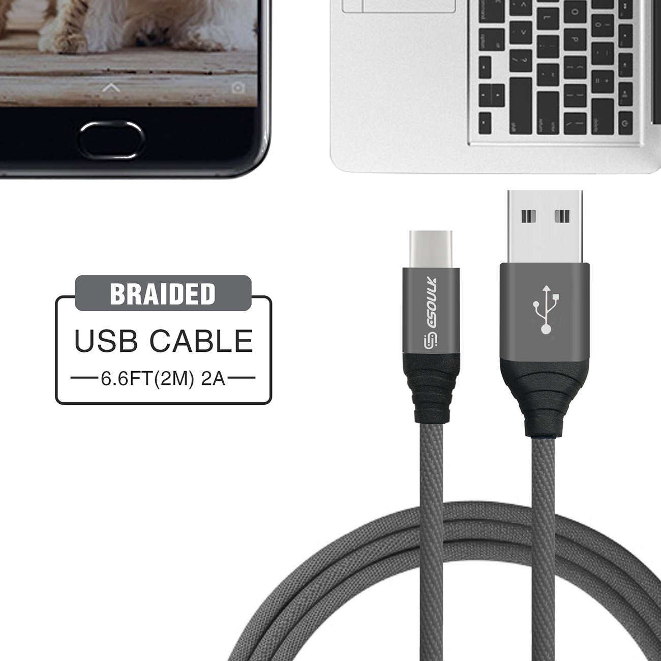 Esoulk Canvas Cable 6.6ft For Type-C In Gray
