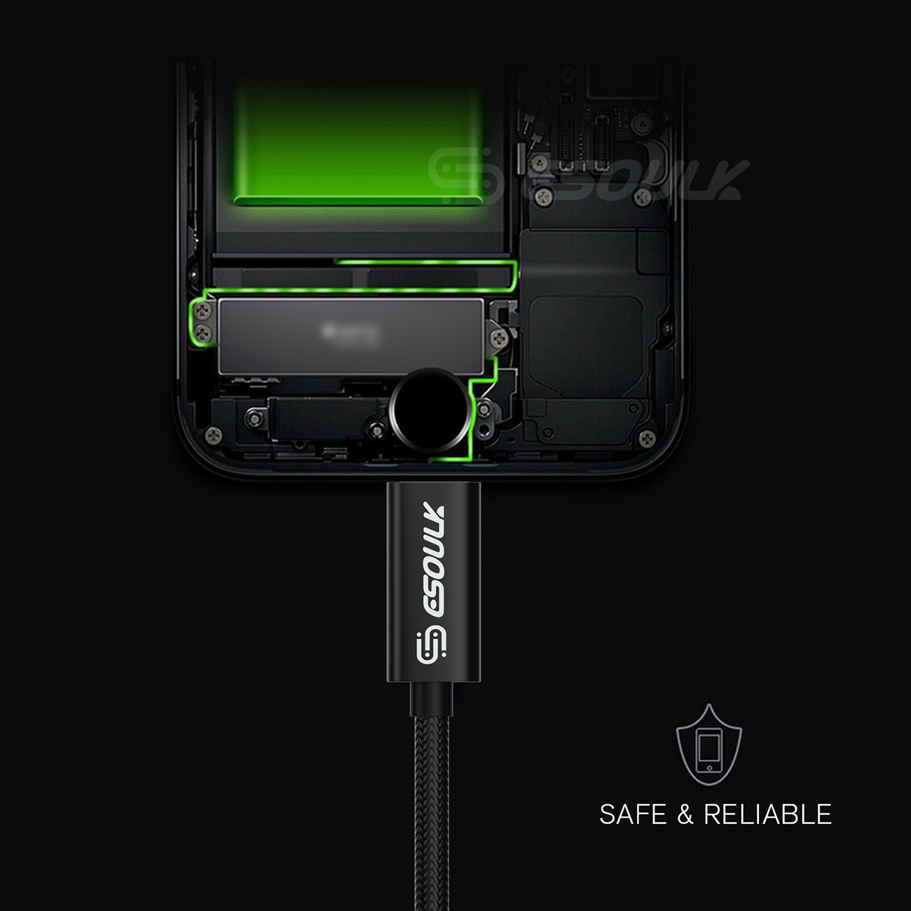 Esoulk 1.7A 10FT USB Cable For 8 PIN In Black