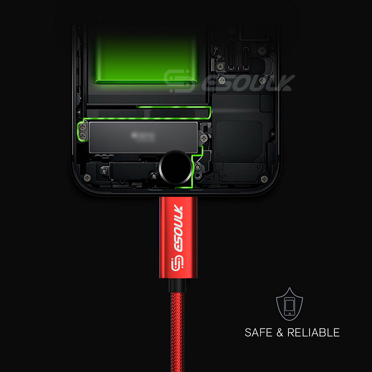 Esoulk 1.7A 10FT USB Cable For 8 PIN In Red