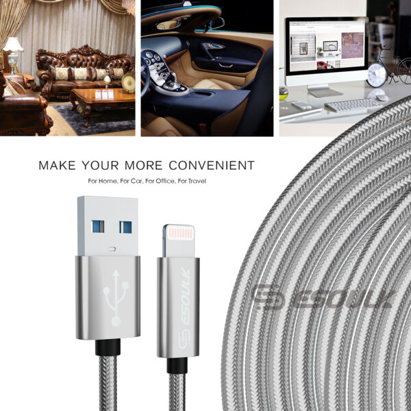 Esoulk 1.7A 10FT USB Cable For 8 PIN In Silver