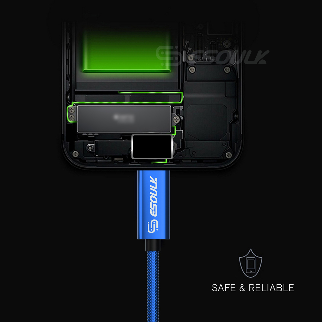 Esoulk 1.7A 10FT USB Cable For Type-C In Blue