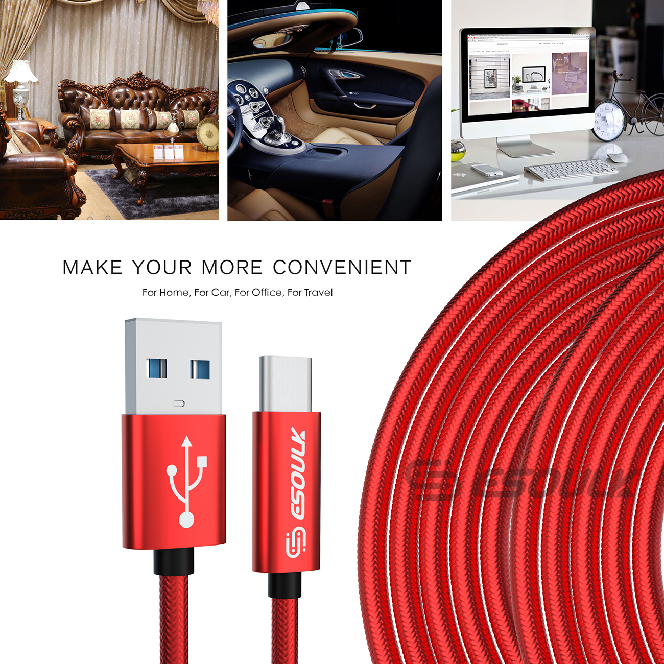 Esoulk 1.7A 10FT USB Cable For Type-C In Red