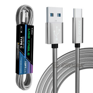 Esoulk 1.7A 10FT USB Cable For Type-C In Silver