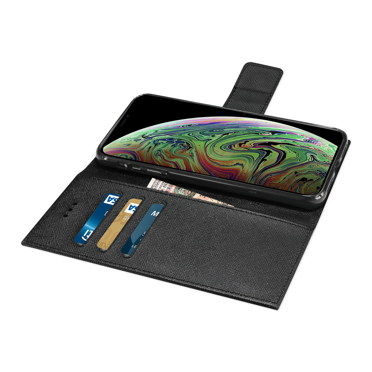 iPhone XS MAX 3-In-1 Wallet Case In Black