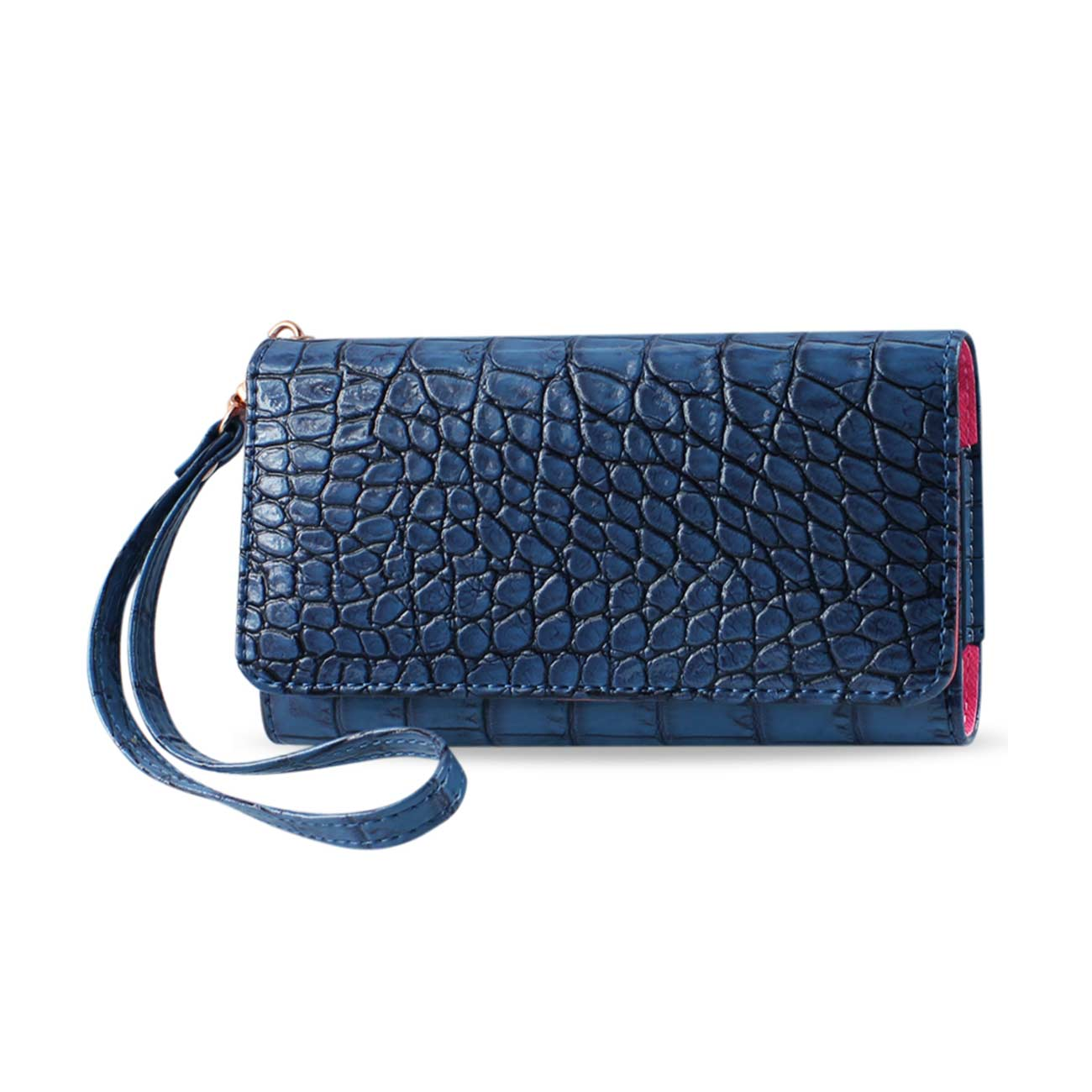 CROCODILE PATTERN PURSE WALLET CASE SAMSUNG MEGA 6.3/ ZTE N9520 NAVY (6.7X3.5X0.5 INCHES)