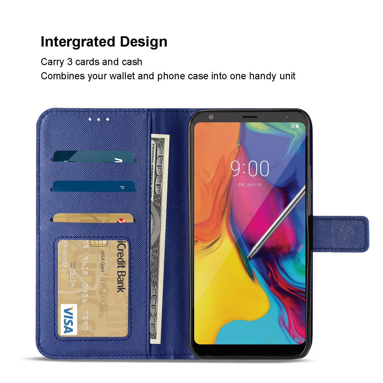 LG STYLO 5 3-In-1 Wallet Case In BLUE