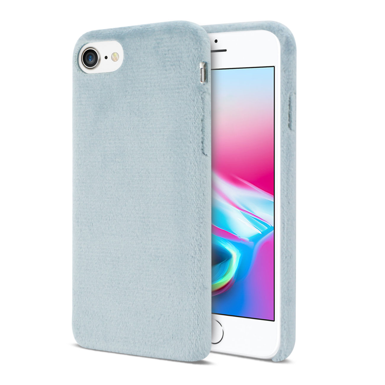 iPhone 8/ 7 Fuzzy Fur Soft TPU Case In Gray