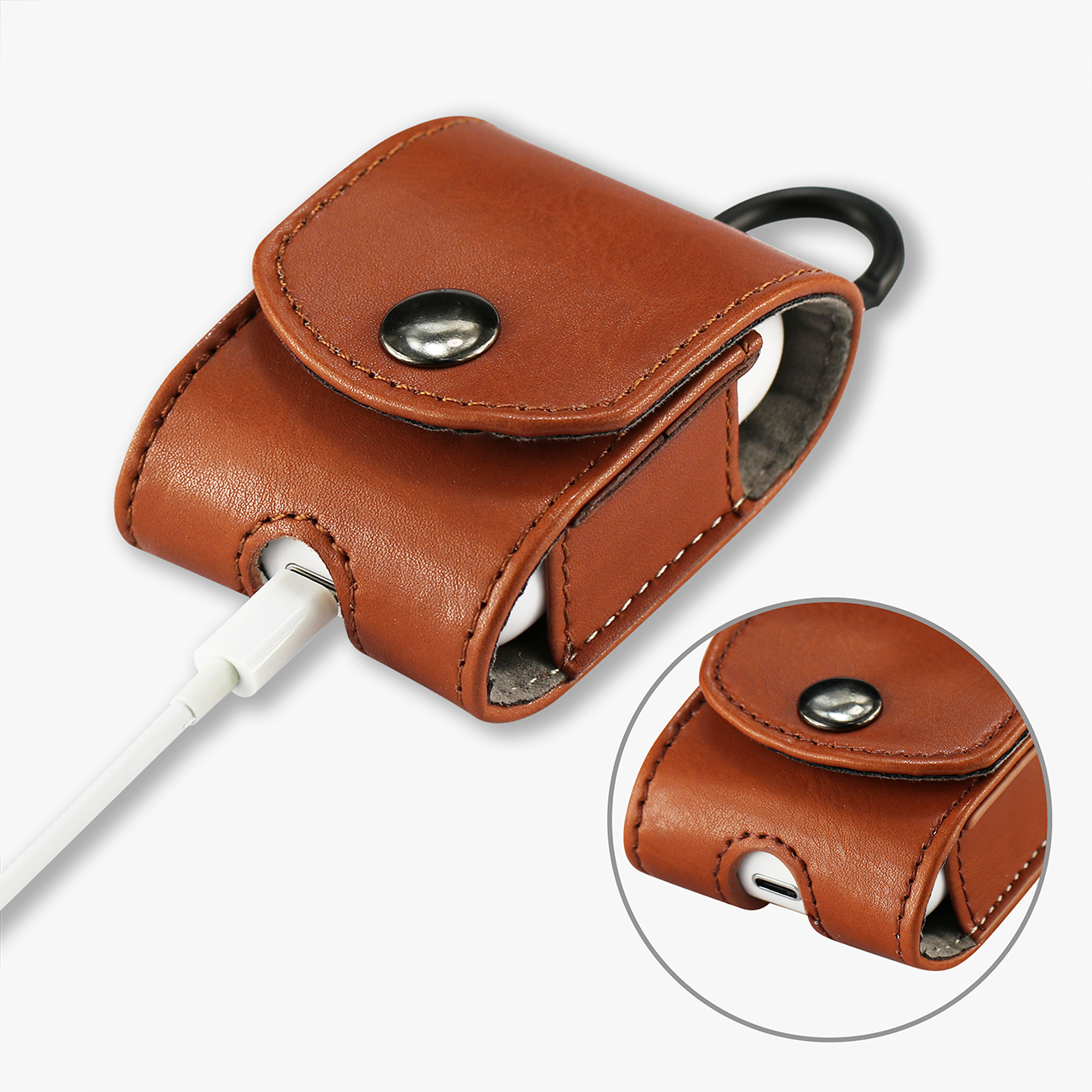 Reiko leather Case for Airpod in Brown