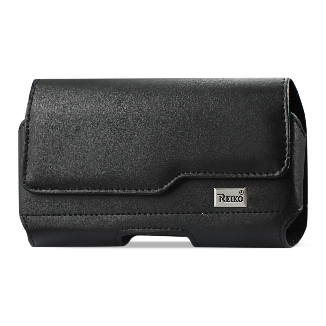 Horizontal Leather Pouch With Z Lid Pattern With Embossed Logo In Black (6.1X3.2X0.7 Inches)