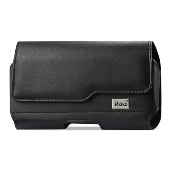 Reiko Horizontal Leather Pouch With Z Lid Pattern With Embossed Logo In Black (5.8X3.0X0.7 Inches)