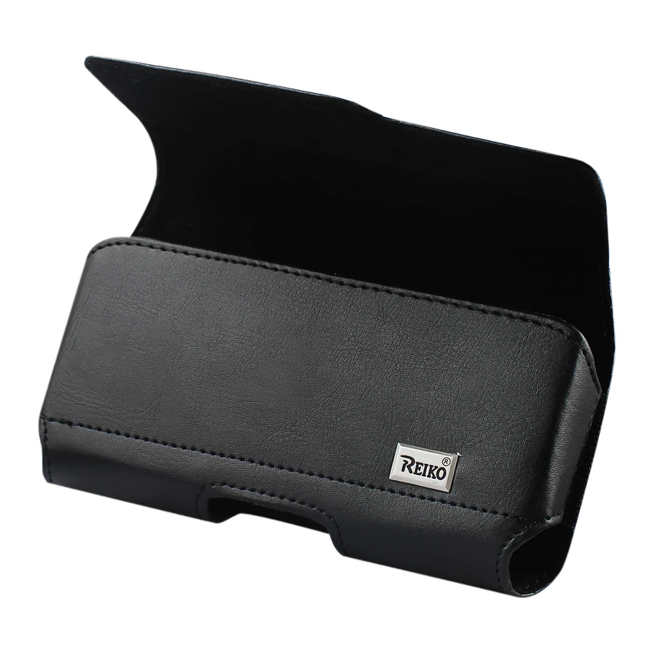 Horizontal Leather Pouch With Z Lid Pattern With Embossed Logo In Black (5.8X3.0X0.7 Inches)