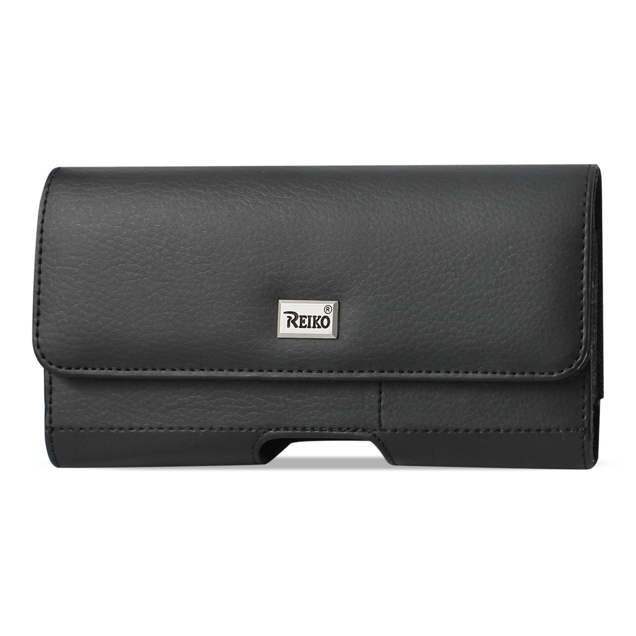 Horizontal Leather Pouch With Card Holder In Black (6.1X3.2X0.7 Inches)