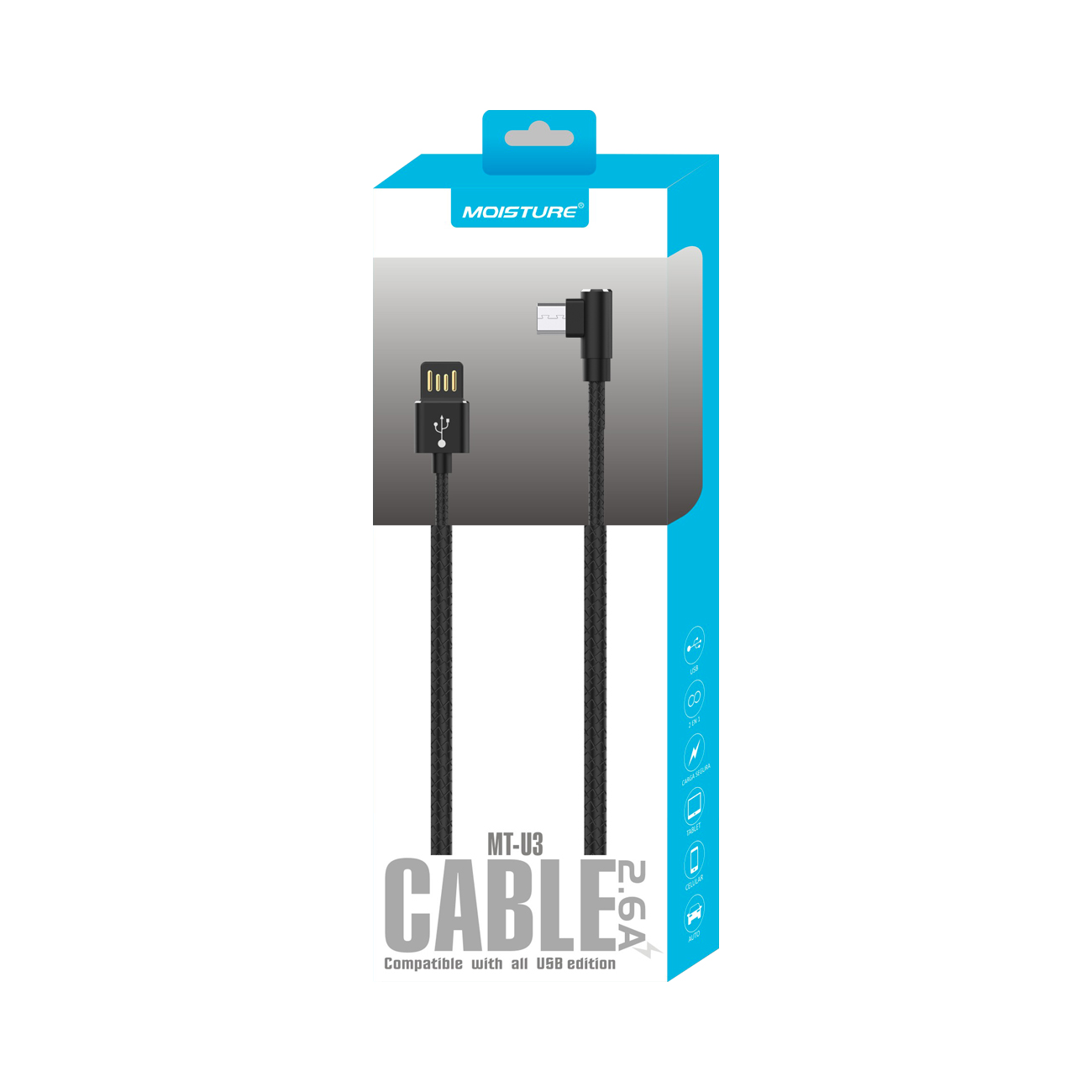 Moisture 2.6A Premium Full Steel Data Cable In Black