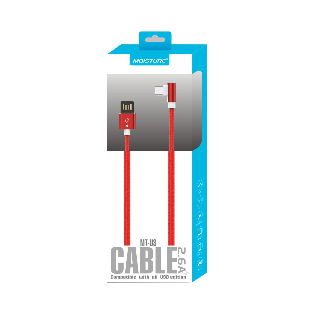 Moisture 2.6A Premium Full Steel  Data Cable In Red