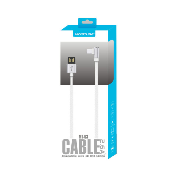 Moisture 2.6A Premium Full Steel  Data Cable In Silver