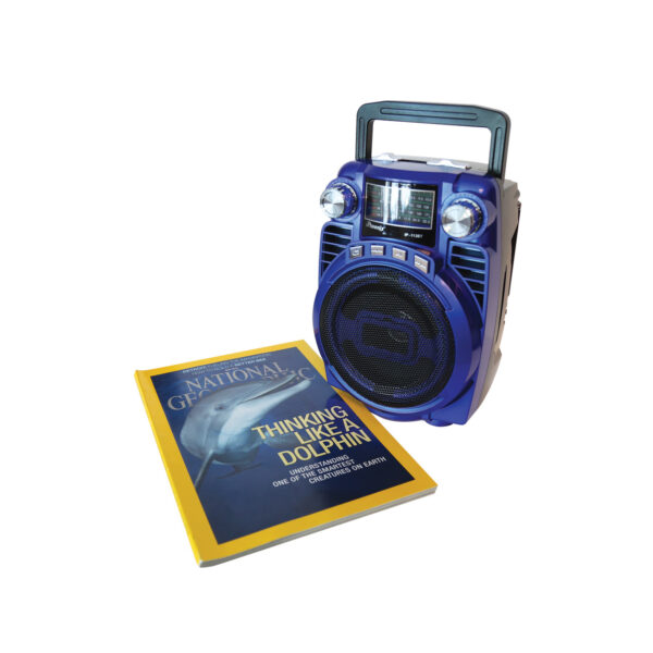 Portable USB FM Radio Bluethooth Speaker Music Player with Foldable handle In Blue