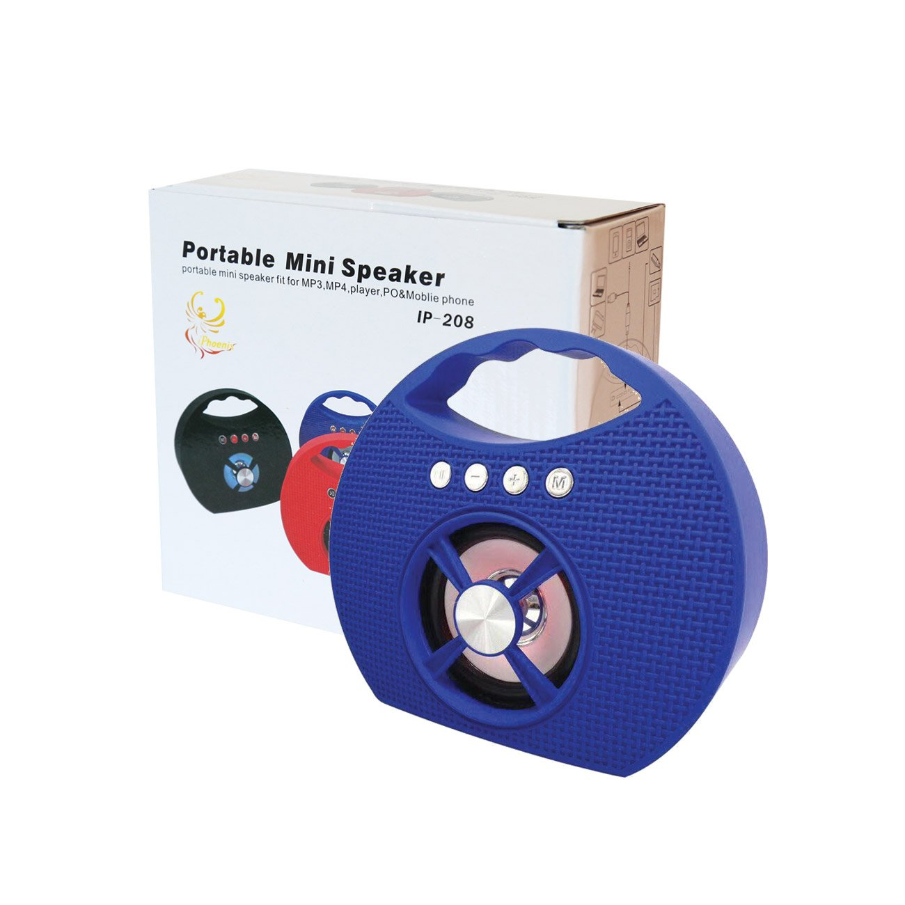 Portable USB FM Radio Bluethooth Speaker Music Player with lights and handle In Blue