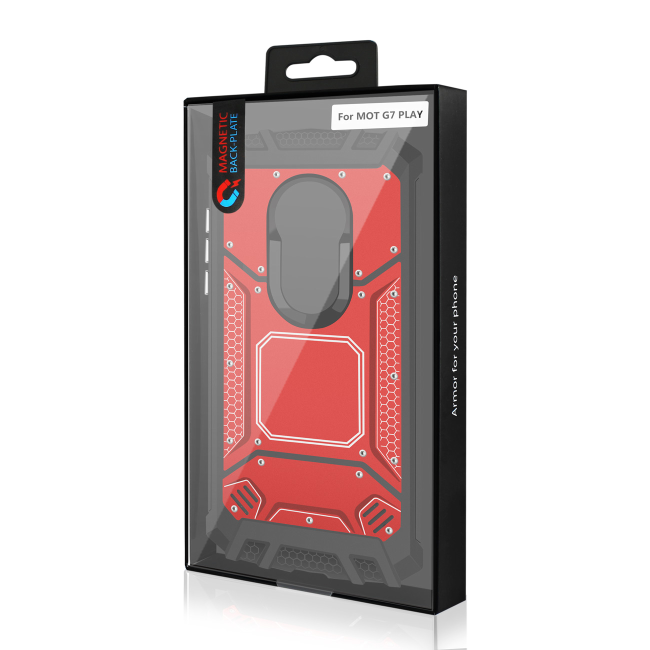 MOTOROLA MOTO G7 PLAY_Metallic Front Cover Case In_Red