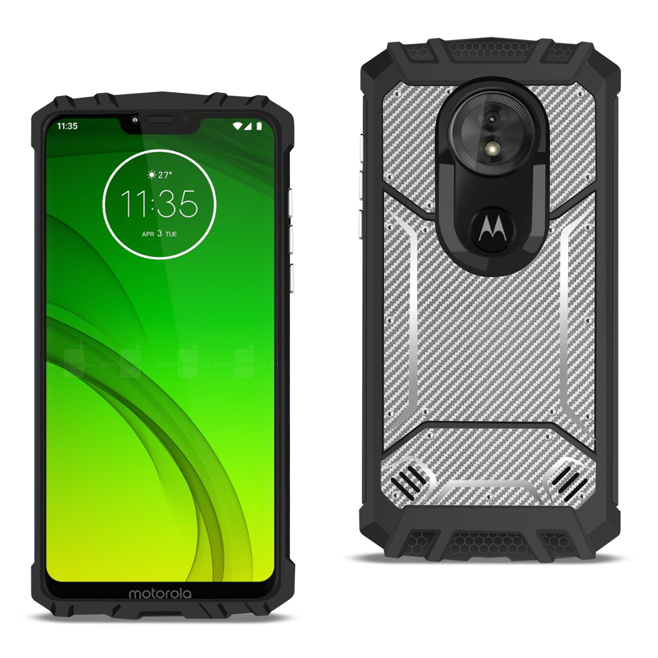 MOTOROLA MOTO G7 POWER_Carbon Fiber Hard-shell Case In Gray