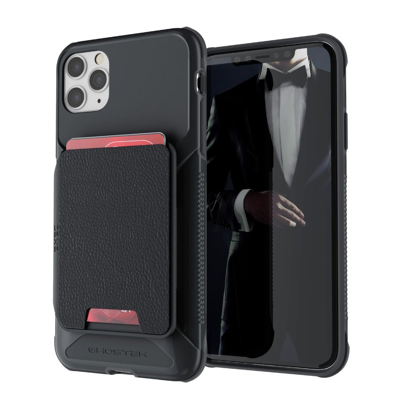 Exec4 Black Leather Flip Wallet Case for Apple iPhone 11 Pro Max