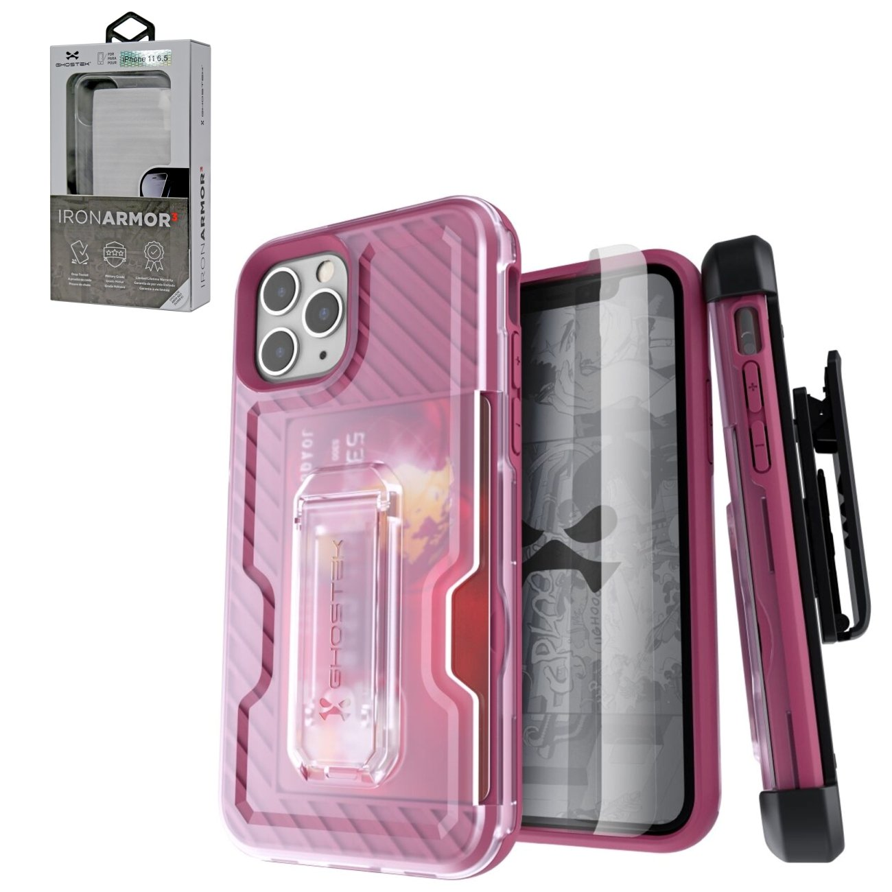 Iron Armor3 Rose Gold Rugged Case + Holster with tempered glass for Apple iPhone 11 Pro