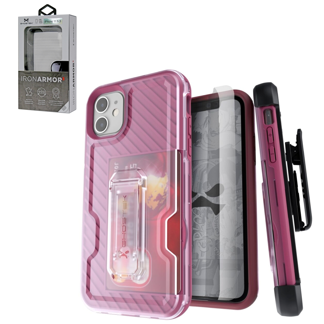 Iron Armor3 Rose Gold Rugged Case + Holster with tempered glass for Apple iPhone 11
