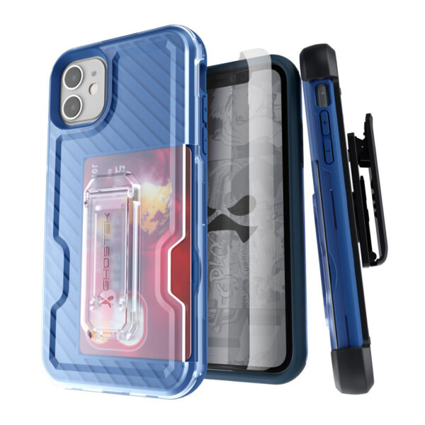 Ghostek Iron Armor3 Blue Rugged Case + Holster with tempered glass  for Apple iPhone 11