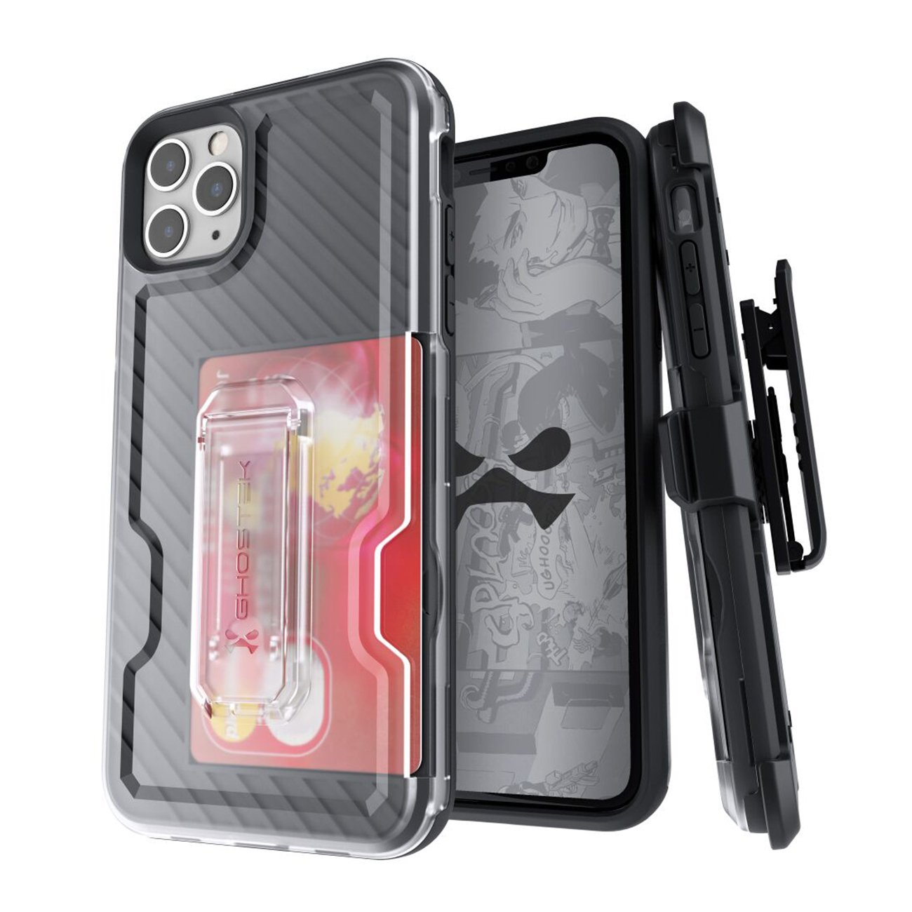 Iron Armor3  Black  Rugged Case + Holster with tempered glass for Apple iPhone 11 Pro Max