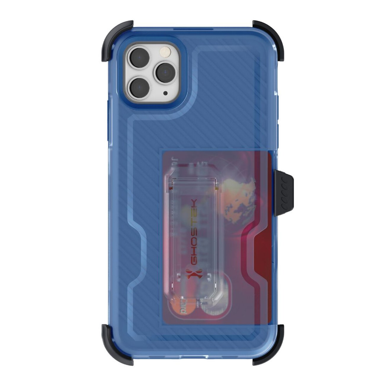 Iron Armor3 Blue Rugged Case + Holster with tempered glass  for Apple iPhone 11  Pro Max
