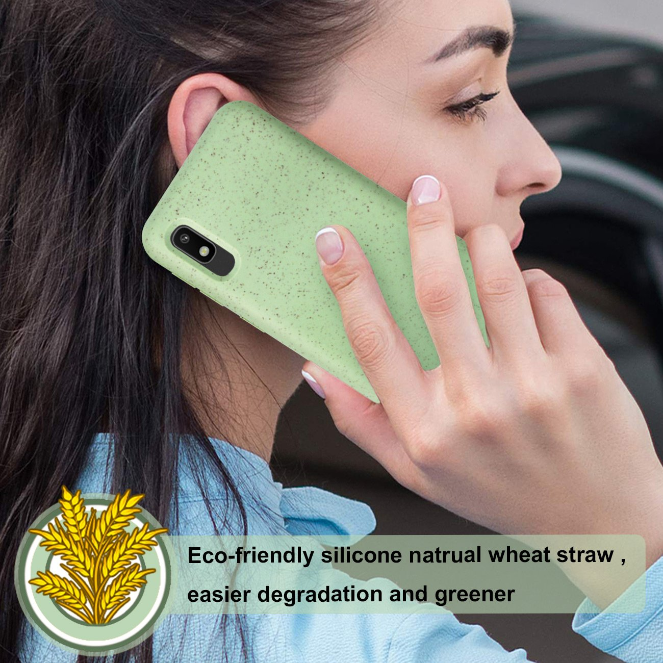 SAMSUNG GALAXY A10E Wheat Bran Material Silicone Phone Case In Green