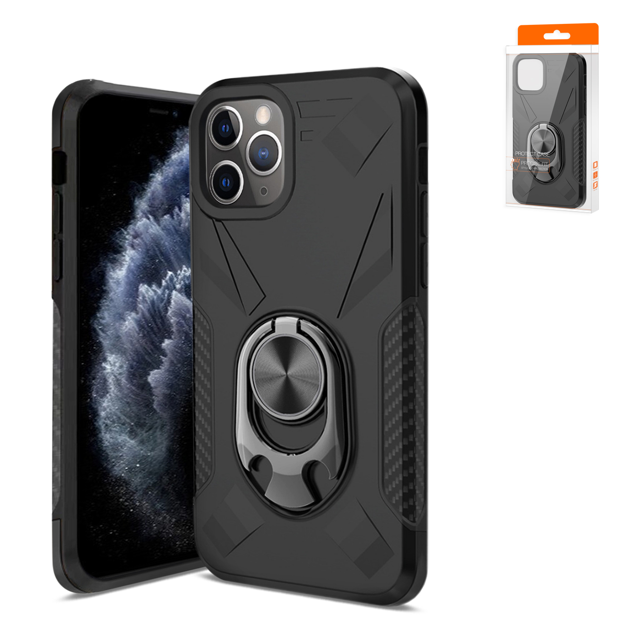 APPLE IPHONE 11 PRO MAX Case with Ring Holder In Black