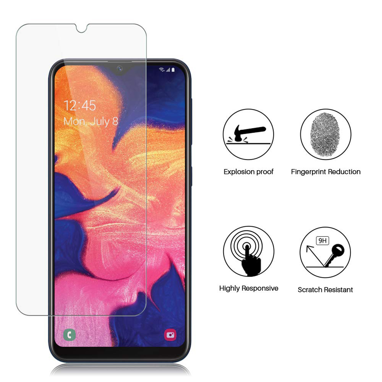 SAMSUNG GALAXY A10E(2019) TEMPERED GLASS SCREEN PROTECTOR IN CLEAR
