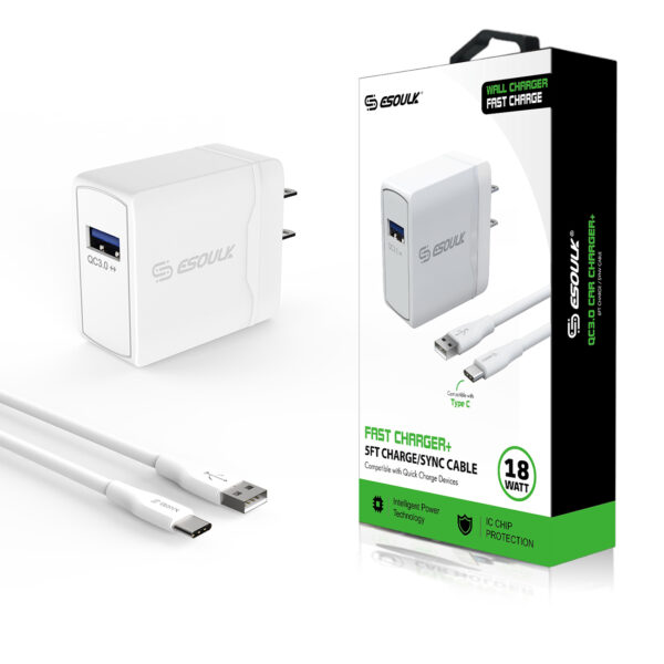 18W QC3.0 Wall Charger & 5ft Cable For Type-C In White