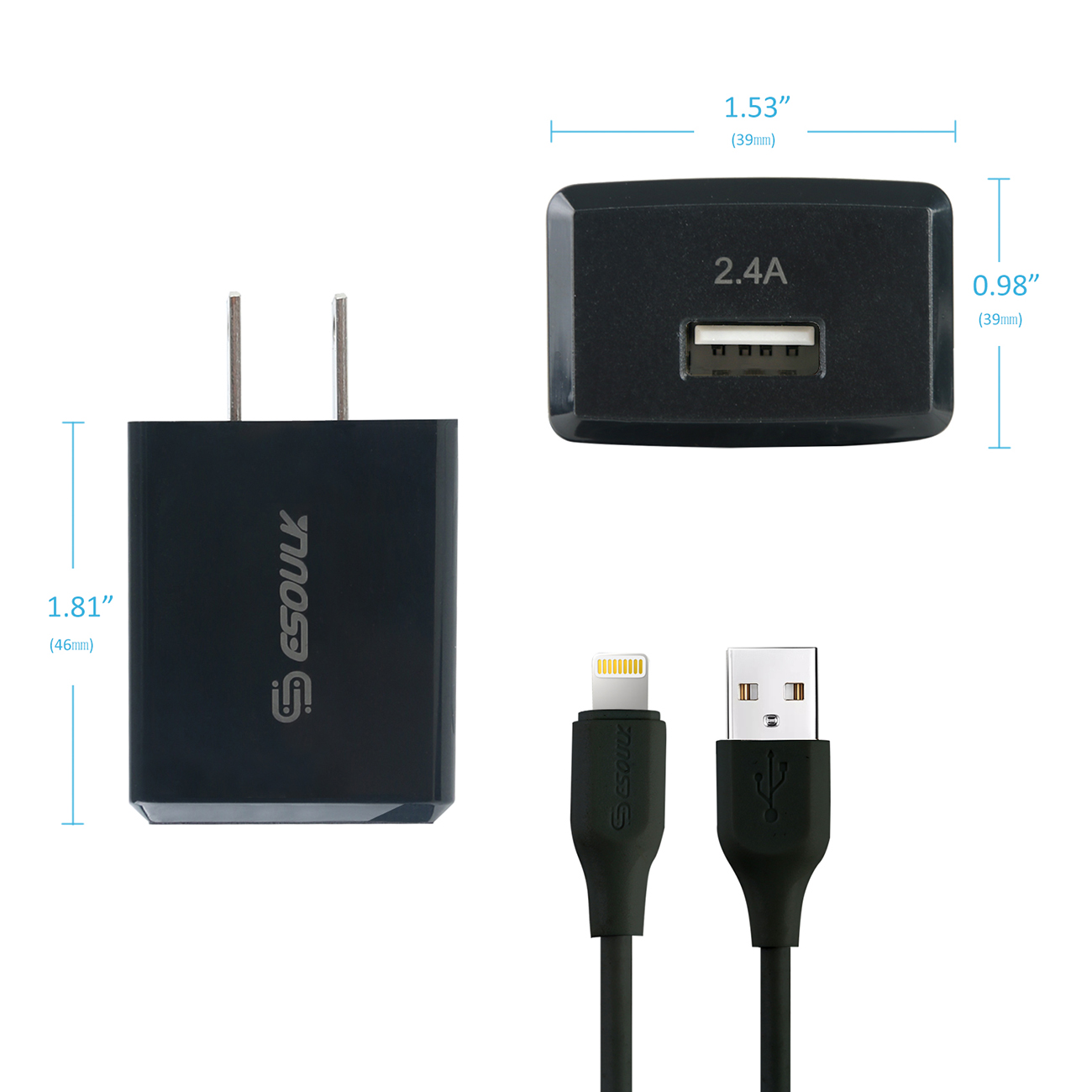 12W 2.4A Wall Charger & 5ft Cable For 8 PIN In Black