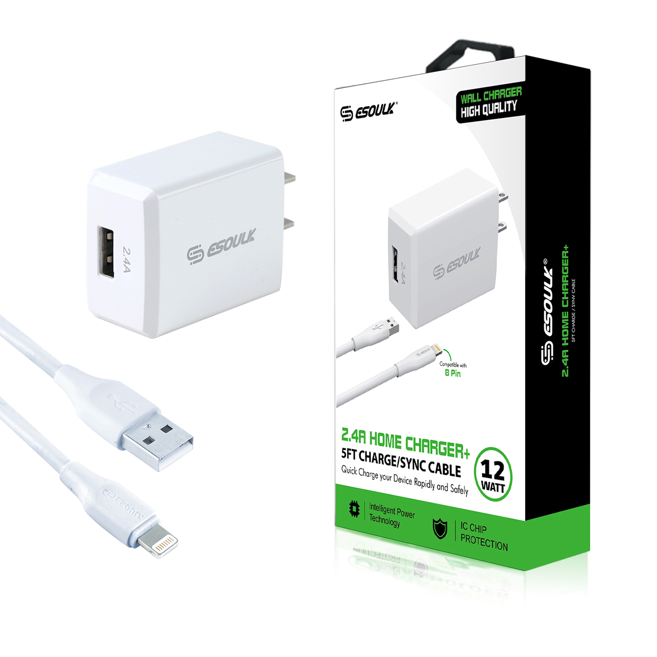 12W 2.4A Wall Charger & 5ft Cable For 8 PIN In White