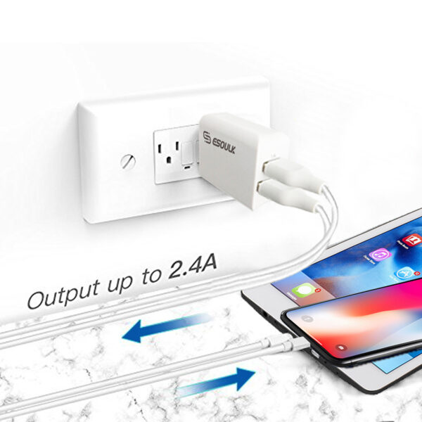 Esoulk 12W 2.4A Dual USB Travel Wall charger With 5FT Charging Cable for 8 PIN In White