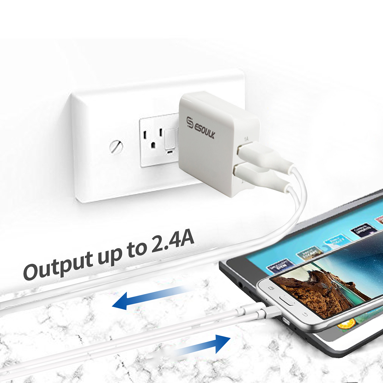 Esoulk 12W 2.4A Dual USB Travel Wall charger With 5FT  Micro USB Charging Cable In White