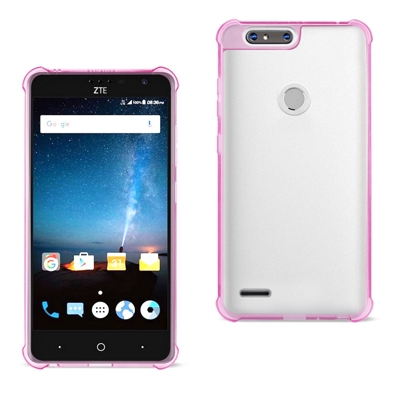 ISTIK ZTE Blade Z MAX/Z982/ZTE Sequoia Clear Bumper Case With Air Cushion Protection In Clear Hot Pink