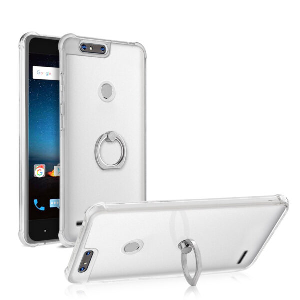ISTIK ZTE Blade Z MAX/Z982/ZTE Sequoia Transparent Air Cushion Protector Bumper Case With Ring Holder In Clear
