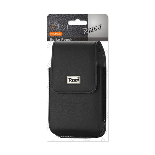 Reiko Leather Vertical Pouch With Metal Logo In Black (6.2X3.3X0.7 Inches)
