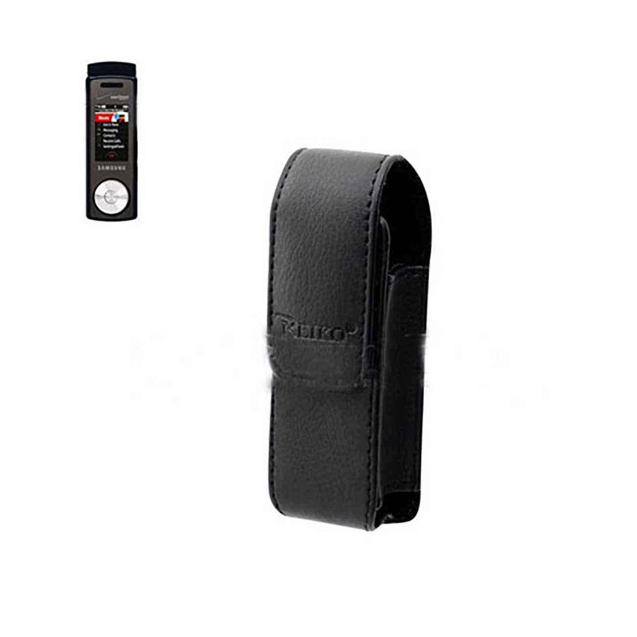 Leather Vertical Bluetooth Pouch With Embossed  Logo in Black